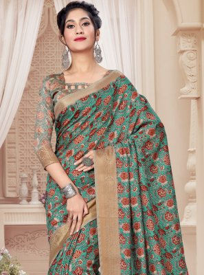 Sea Green Ceremonial Printed Saree