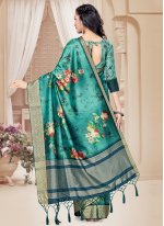 Sea Green Ceremonial Tussar Silk Printed Saree