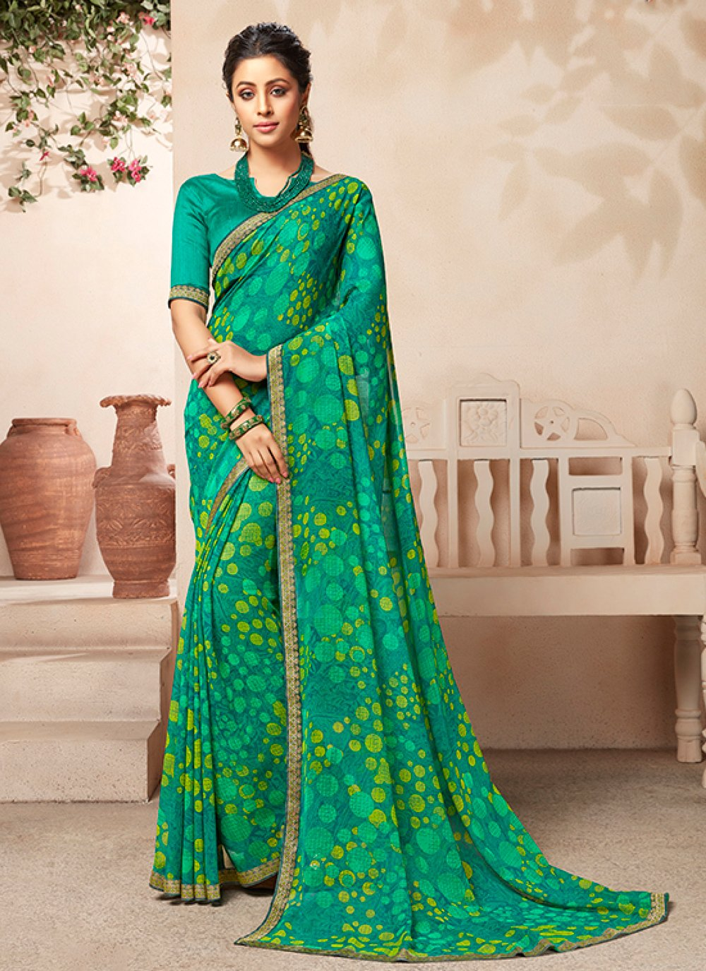 Sea Green Color Casual Saree