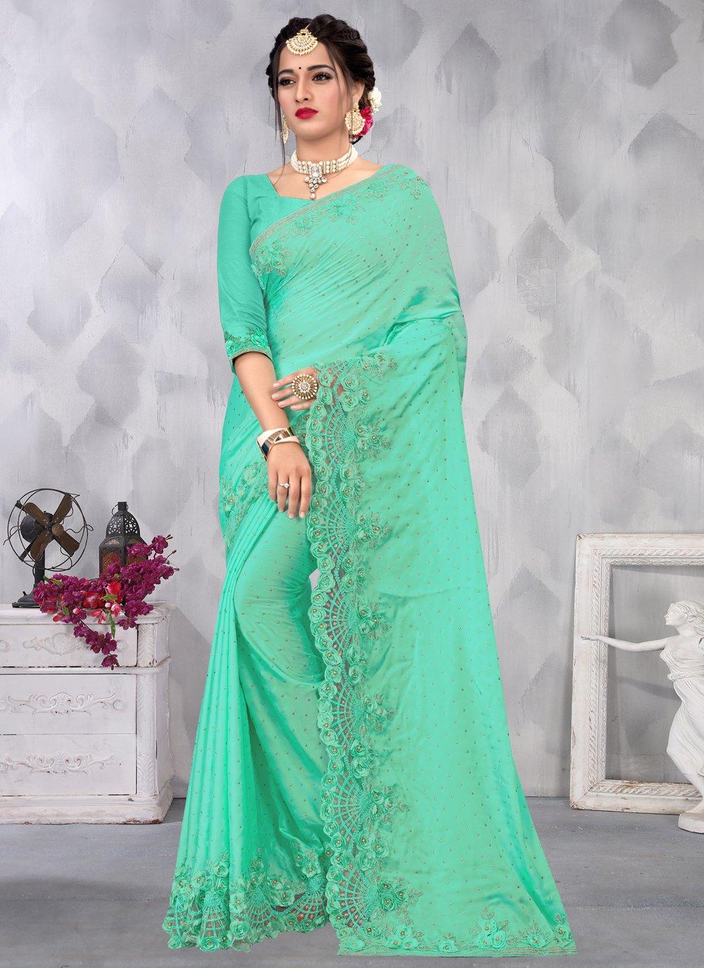 Sea Green Color Designer Saree