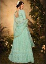 Sea Green Color Floor Length Designer Suit