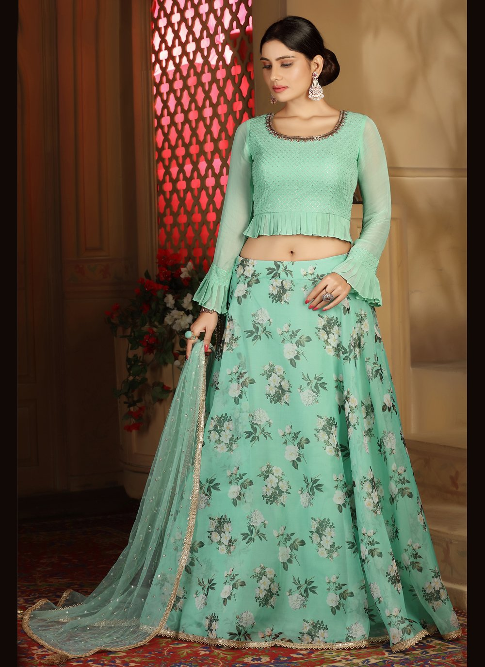 Sea Green Color Readymade Lehenga Choli