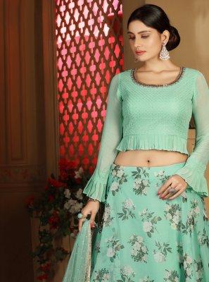 Sea Green Color Readymade Lehenga Choli