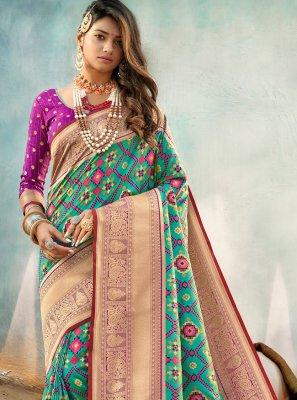 Sea Green Color Traditional Designer Saree