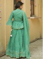 Sea Green Cotton Ceremonial Lehenga Choli