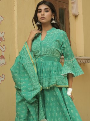 Sea Green Cotton Ceremonial Lehenga Choli