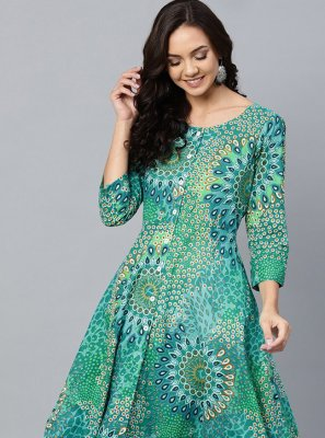Sea Green Cotton Designer Kurti