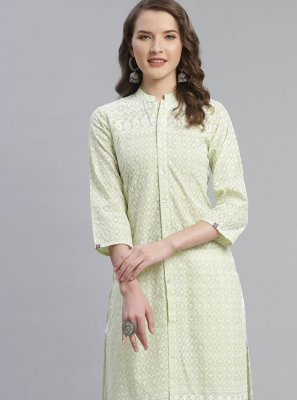 Sea Green Cotton Party Wear Kurti