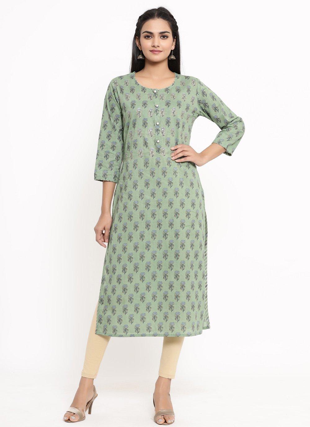 Sea Green Cotton Print Party Wear Kurti