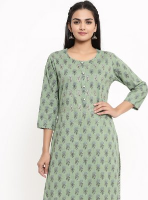 Sea Green Cotton Print Party Wear Kurti
