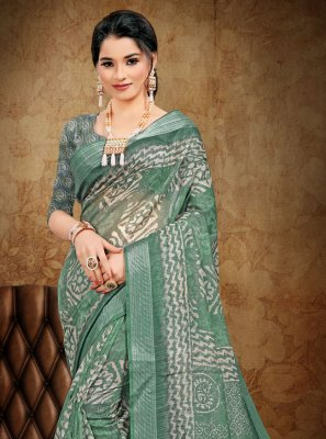 Sea Green Cotton Printed Saree