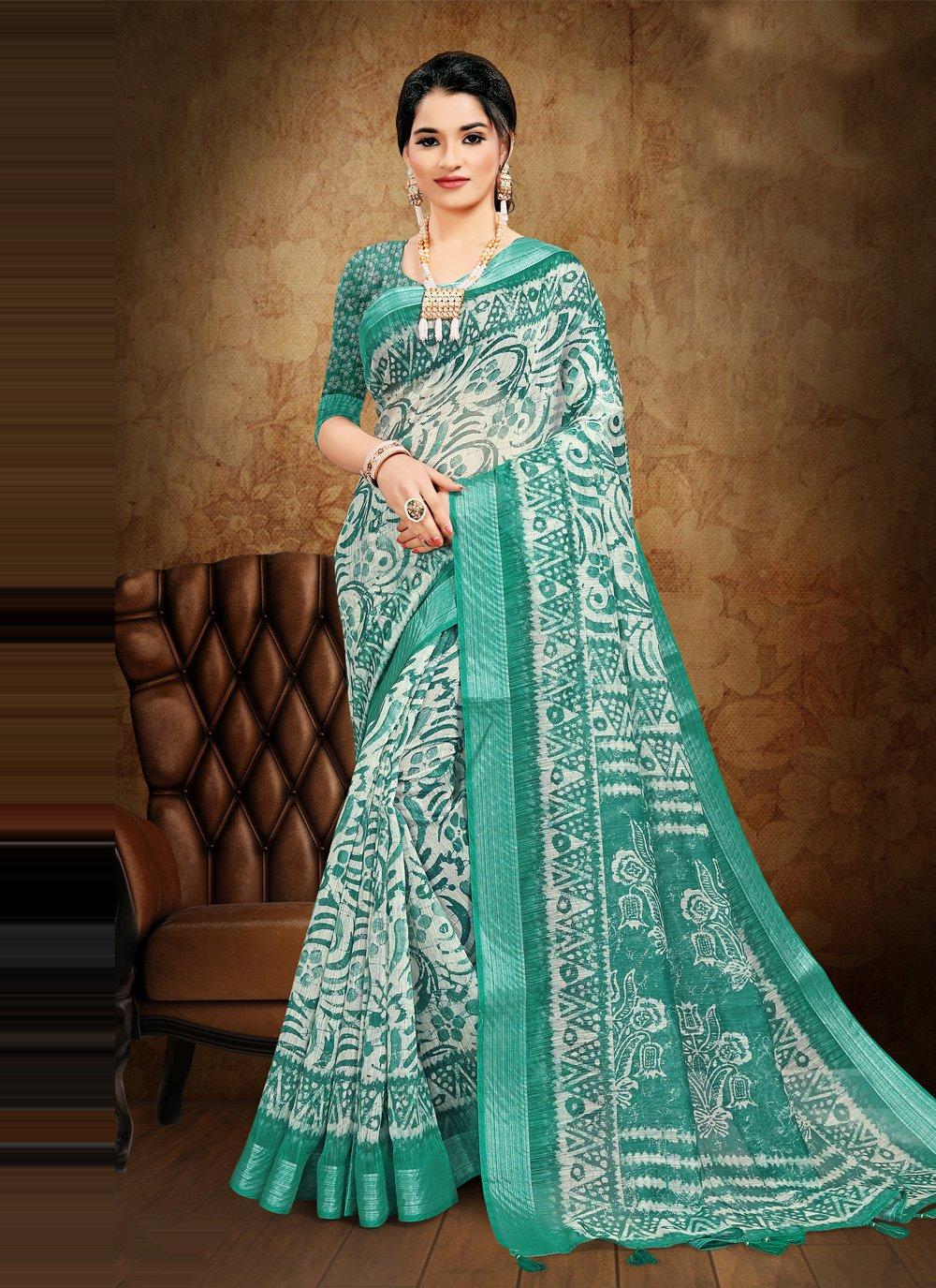 Sea Green Cotton Printed Saree