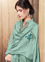 Sea Green Cotton Silk Embroidered Designer Palazzo Suit