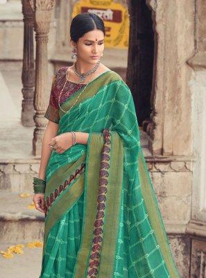 Sea Green Cotton Silk Printed Saree