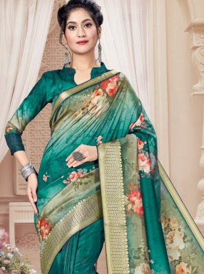 Sea Green Digital Print Printed Saree