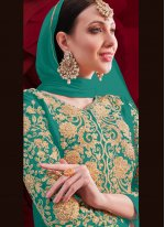 Sea Green Embroidered Anarkali Suit