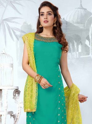 Sea Green Embroidered Art Silk Readymade Suit