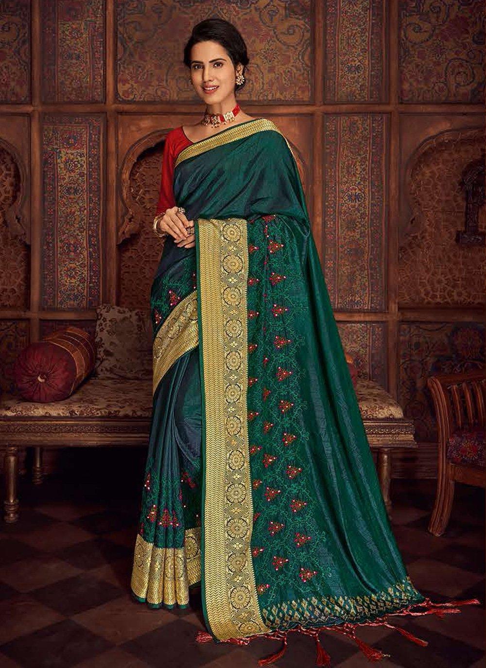 Sea Green Embroidered Contemporary Saree