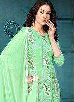 Sea Green Embroidered Cotton Churidar Designer Suit