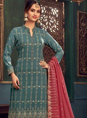 Sea Green Embroidered Designer Pakistani Salwar Suit