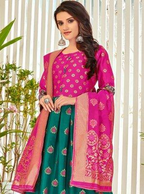 Sea Green Embroidered Festival Anarkali Salwar Suit