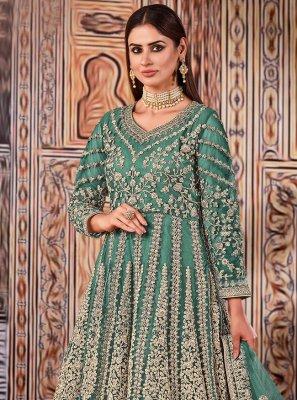 Sea Green Embroidered Floor Length Designer Suit