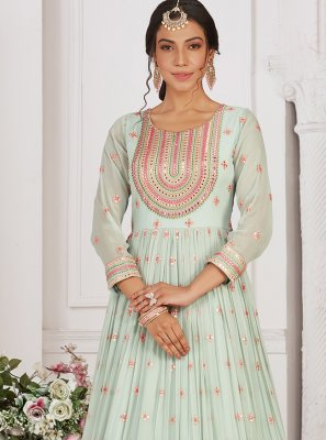 Sea Green Embroidered Georgette Readymade Anarkali Suit