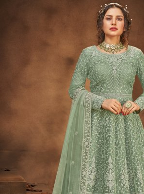 Sea Green Embroidered Long Choli Lehenga