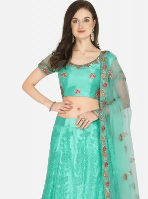 Sea Green Embroidered Net A Line Lehenga Choli