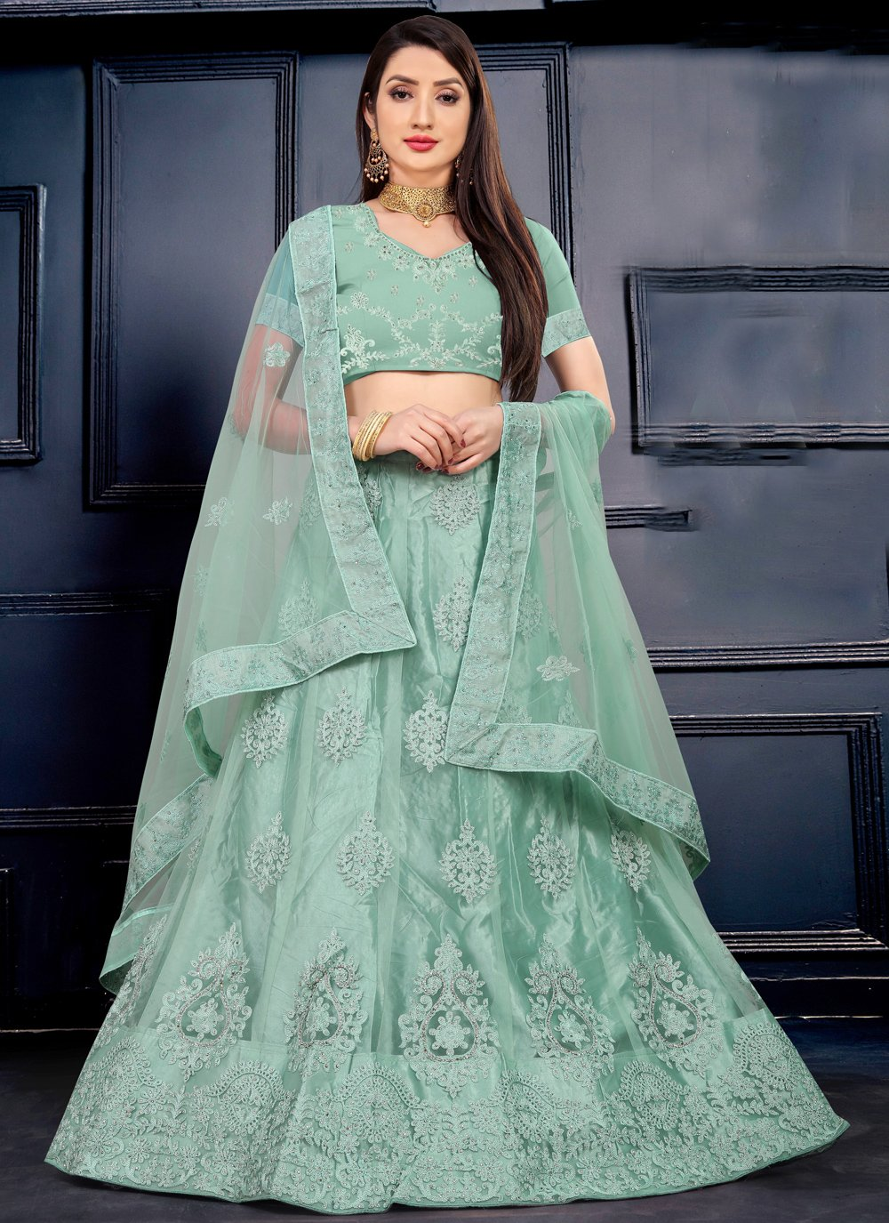 Sea Green Embroidered Net Lehenga Choli