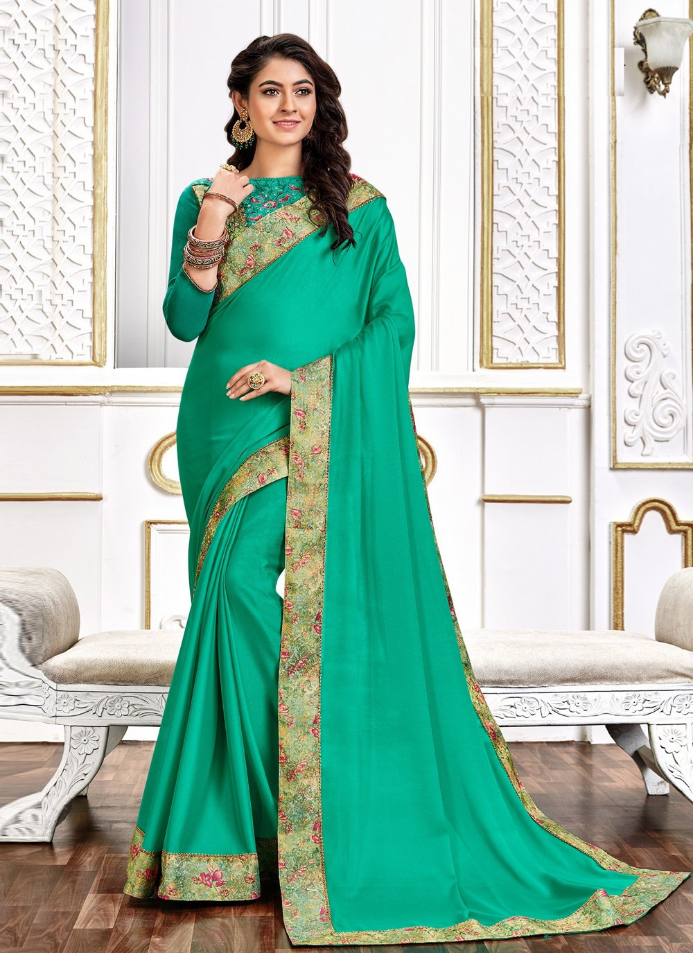 Sea Green Embroidered Poly Silk Traditional Saree