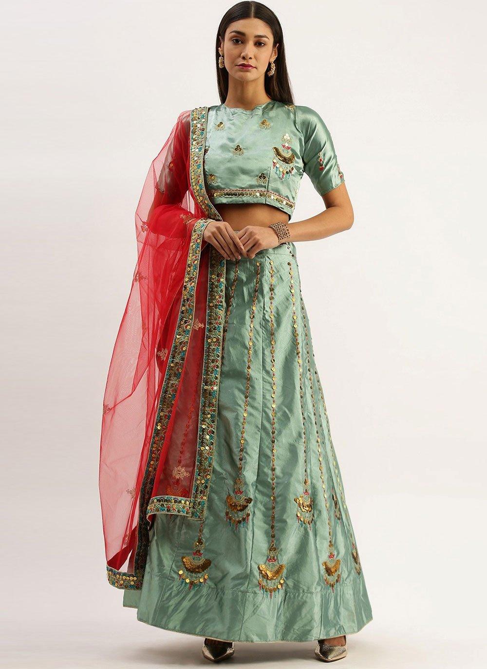 Sea Green Embroidered Satin Silk Lehenga Choli