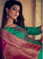 Sea Green Embroidered Silk Designer Palazzo Suit