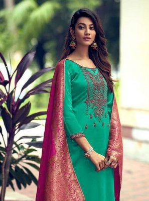 Sea Green Embroidered Silk Designer Palazzo Suit