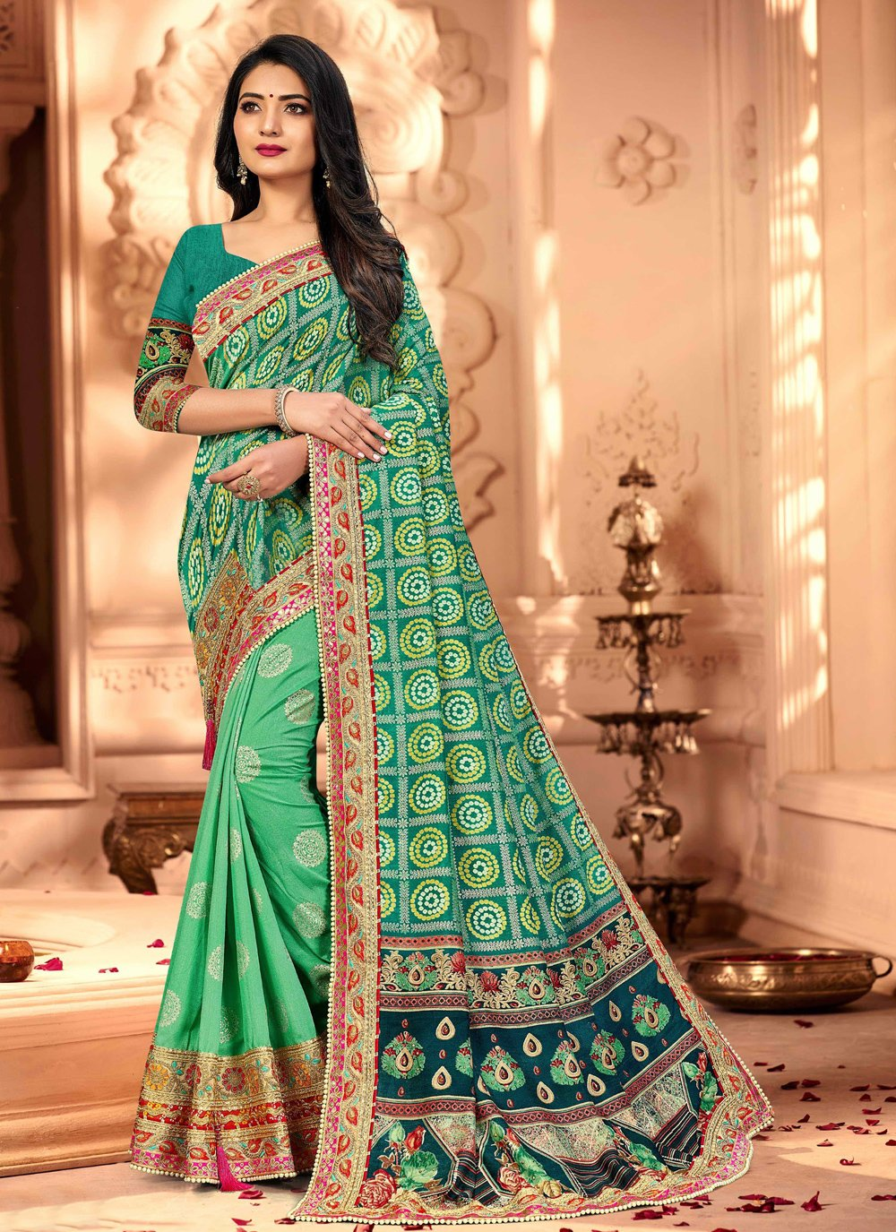 Sea Green Embroidered Silk Designer Traditional Saree
