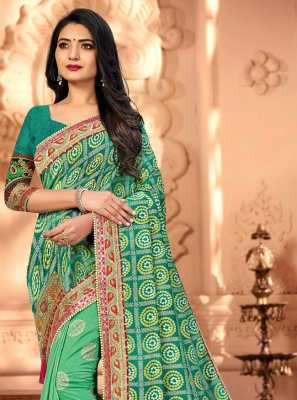 Sea Green Embroidered Silk Designer Traditional Saree