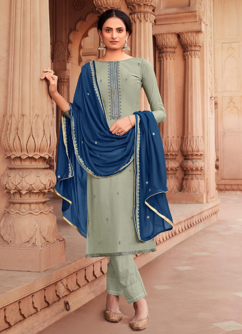 Sea Green Embroidered Viscose Pant Style Suit