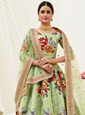 Sea Green Engagement Satin Silk Lehenga Choli