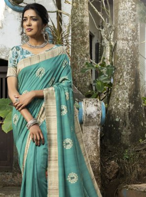 Sea Green Engagement Silk Traditional Saree