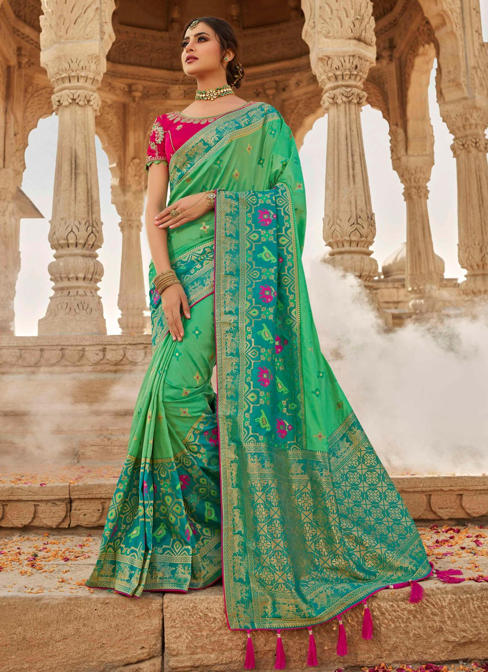 Sea Green Engagement Traditional Designer Saree