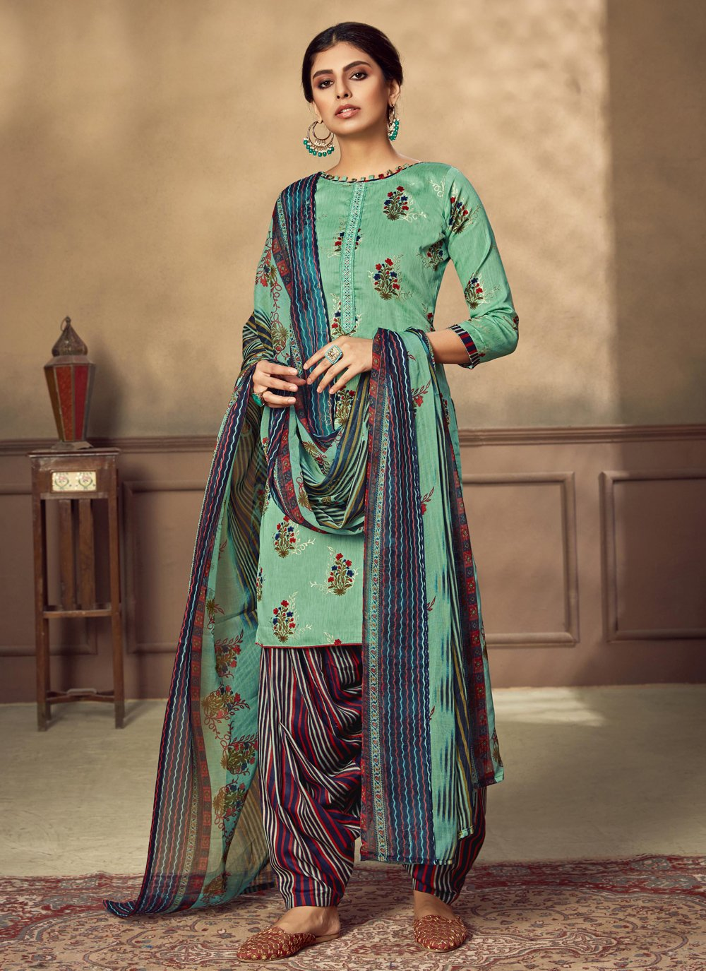 Sea Green Fancy Fabric Designer Patiala Suit