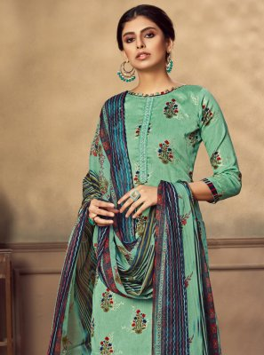 Sea Green Fancy Fabric Designer Patiala Suit