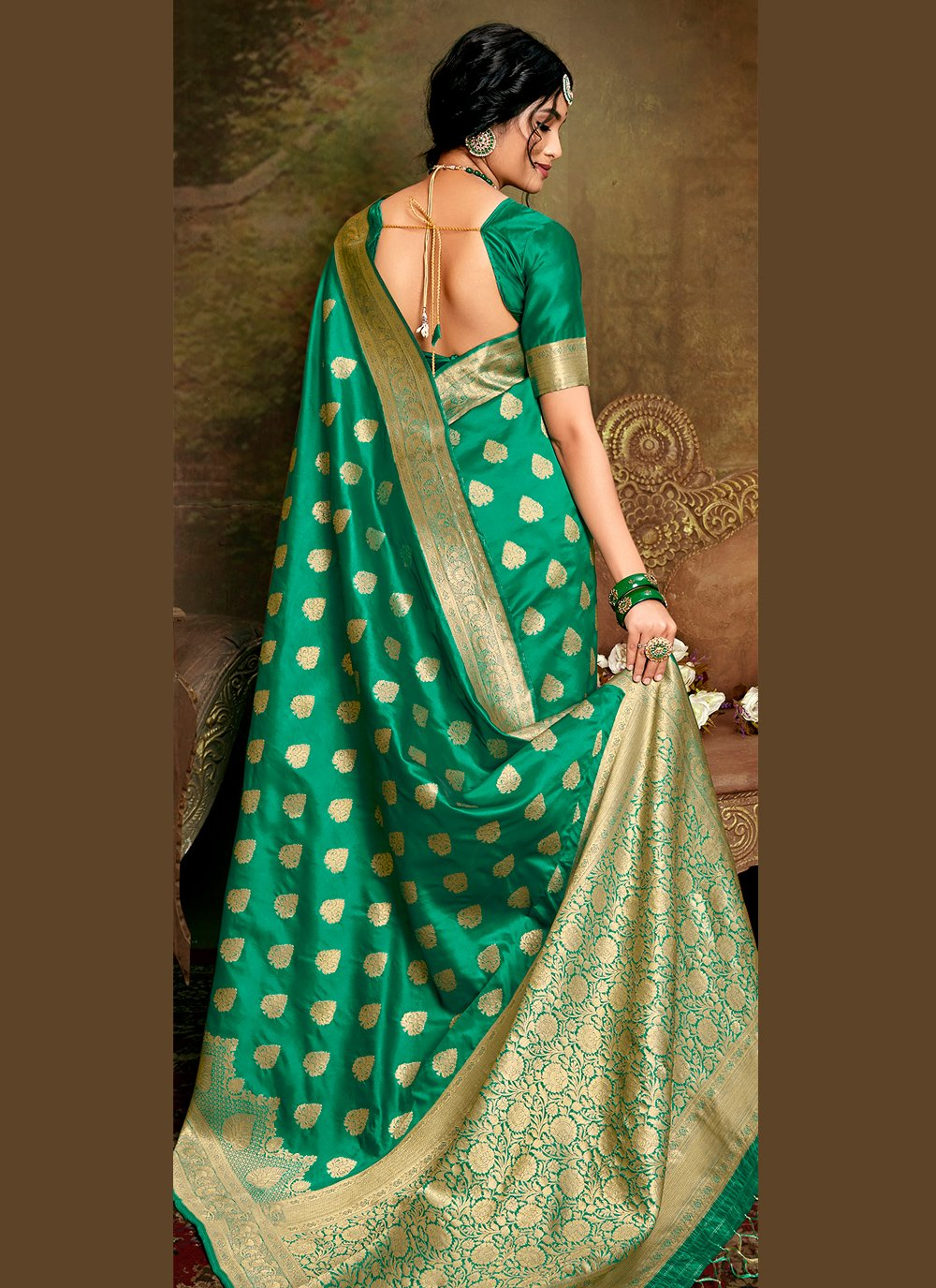 Sea Green Fancy Fabric Designer Traditional Saree