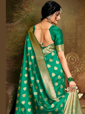 Sea Green Fancy Fabric Designer Traditional Saree