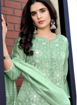 Sea Green Fancy Fabric Sequins Readymade Suit