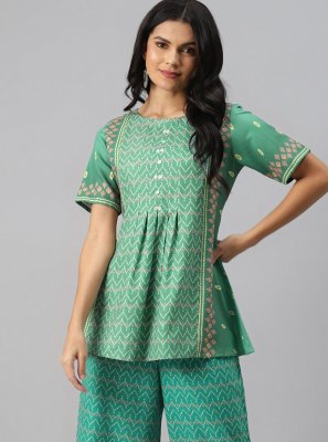 Sea Green Fancy Rayon Party Wear Kurti