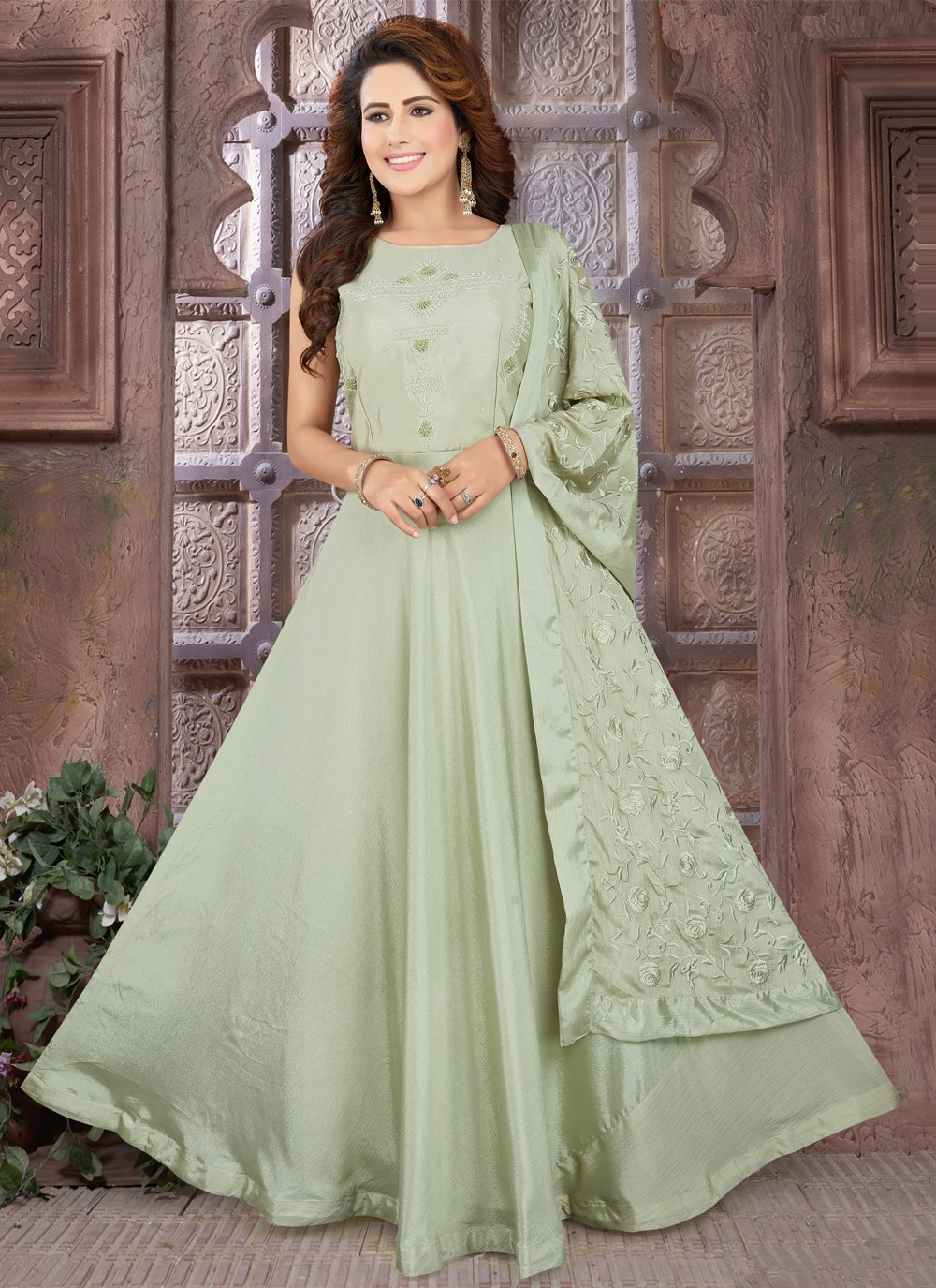 Sea Green Fancy Sangeet Floor Length Anarkali Suit