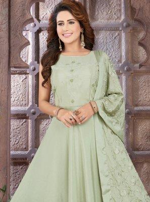 Sea Green Fancy Sangeet Floor Length Anarkali Suit