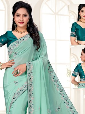 Sea Green Faux Crepe Designer Saree