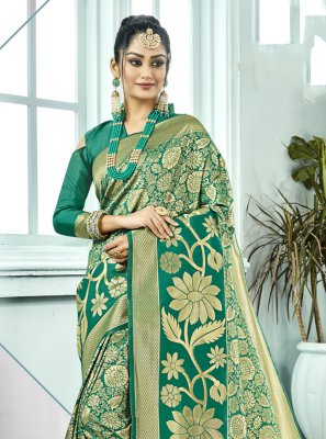 Sea Green Festival Contemporary Saree